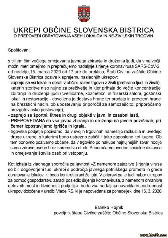 ukrepi koronavirus slb 15-3-2020
