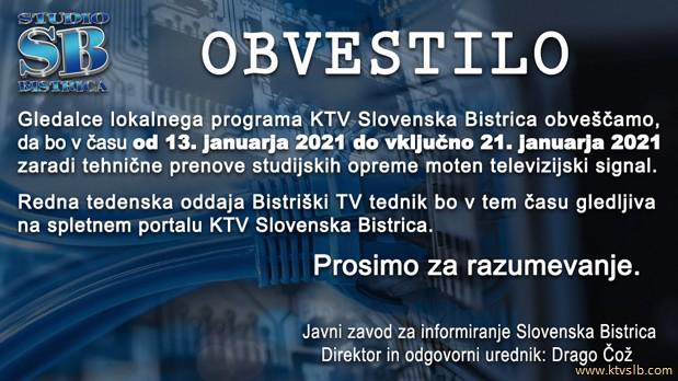 KTV Obvestilo o tehnicni posodobitvi splet